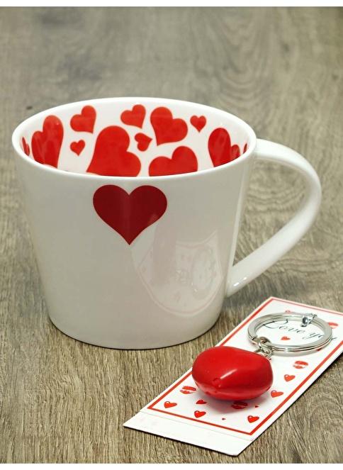 Mizzy Home Porselen Kalp Kupa+Kalp Anahtarlık Renkli